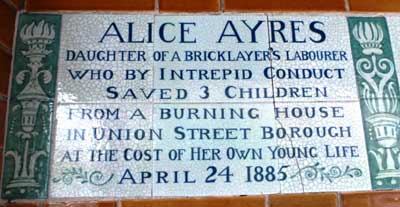 The Alice Ayres plaque.
