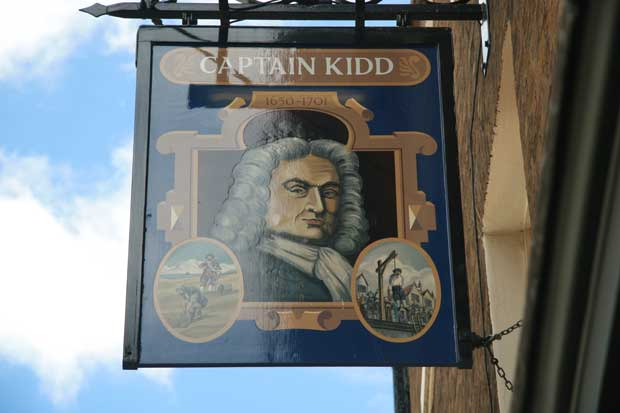 The pub sign of the Captain Kidd pub in Wapping.