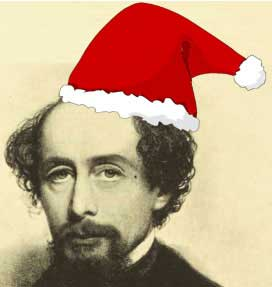 An image of Charles Dickens in a Santa hat.