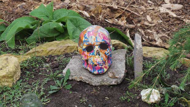 A painted skull in the crossbones graveyard.