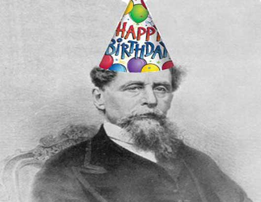 Charles Dickens in birthday hat
