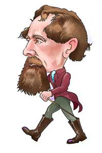 A drawing of Charles Dickens walking.
