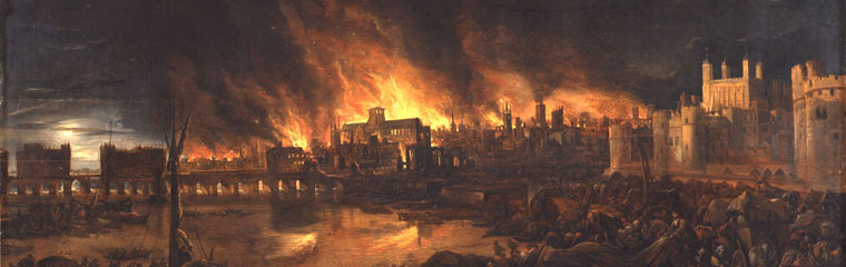 An image showing the Great Fire of London destroying old St Paul's Cathedral.