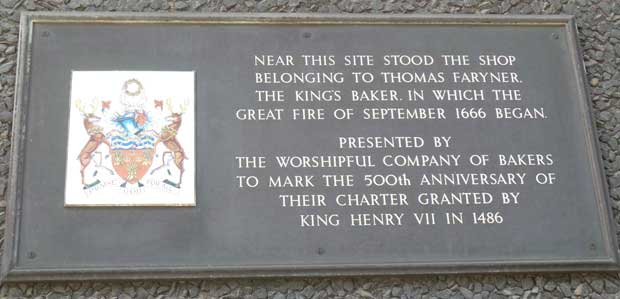 The plaque in Pudding Lane marking where the Great Fire began.