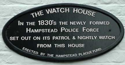 The plaque for the first Hampstead Police force watch house.