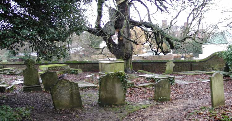 Haunted graves in Hampstead Churchyard.