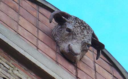 One of the cow's heads that adorn the upper storey of our first stop on the Hidden London Tour.