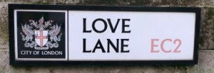 The Love Lane sign.
