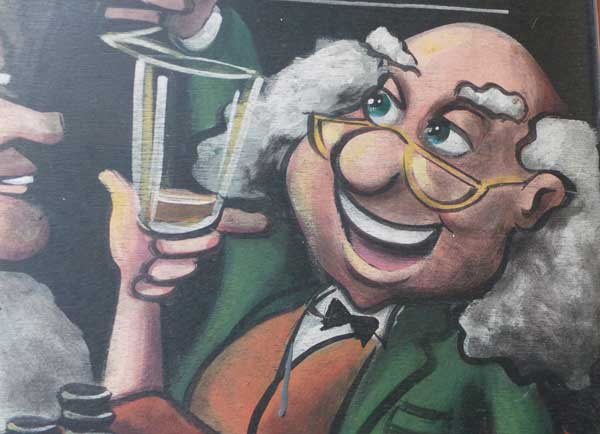 A cartoon of a man with white hair drinking a beer.