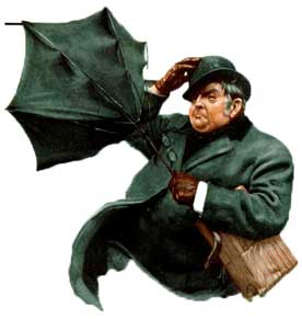 A man struggling with an umbrella.