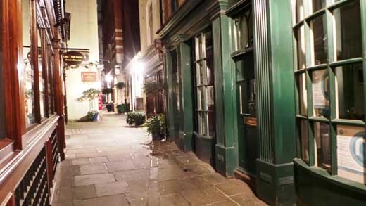 The old alleyway where A Christmas Carol began.