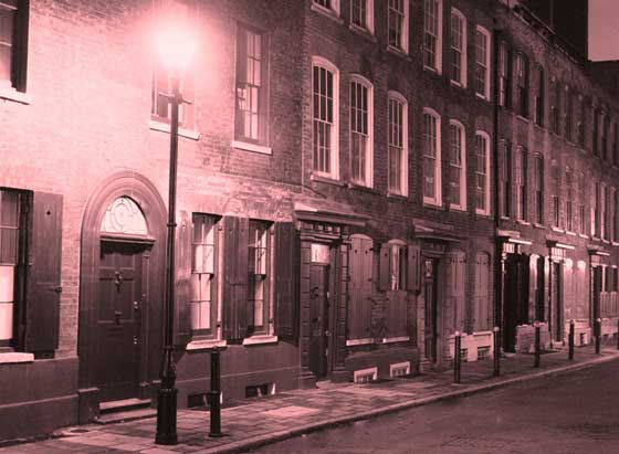 A view of an old Spitalfields street.