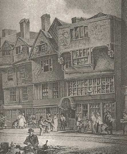 A black and white illustration of the old houses before the Great Fire.