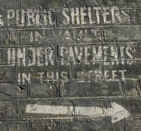 Public air raid shelter sign on Lord North Street
