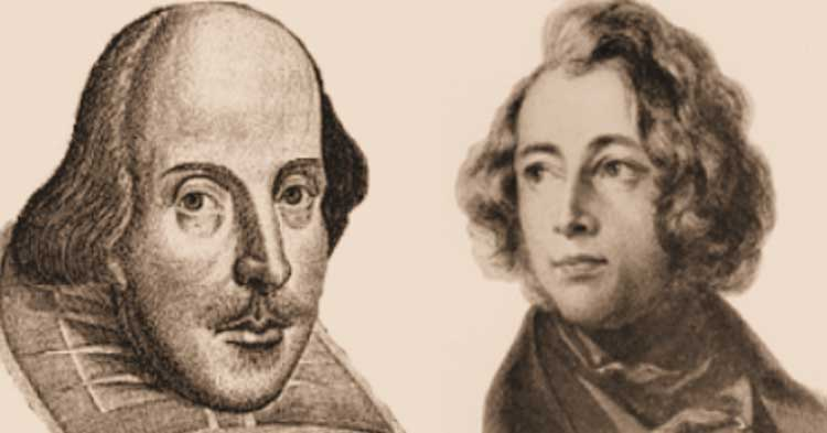 Portraits of Charles Dickens and William Shakespeare.