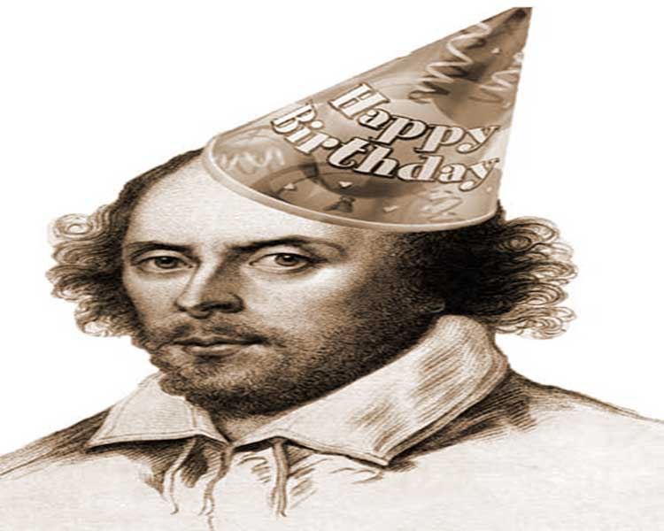 A portrait of William Shakespeare in a hat that has Happy Birthday written on it.