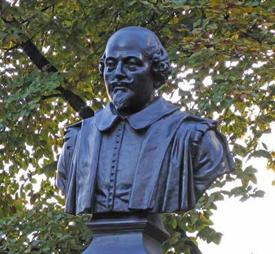 A bust of William Shakespeare in the Love Lane Garden.