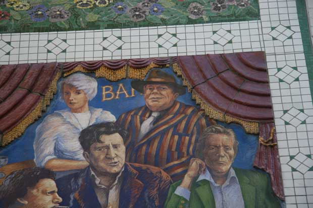 The Carnaby Street Mural in Soho showing famous figures from Soho's past..