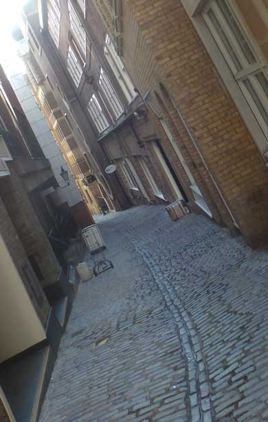 The old cobbled street we walk along.