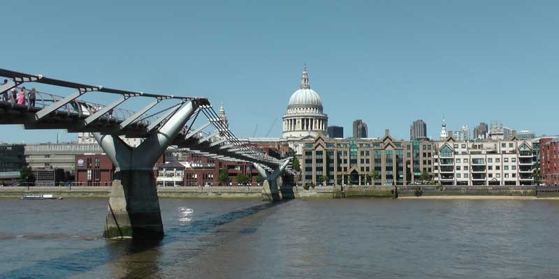 A view of St Paul's Cathedral from the River Thames.