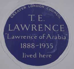 The blue plaque at the house of T.E. Lawrnce.