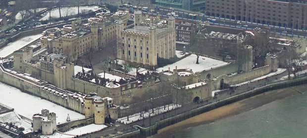 An ariel shot looking down on the Tower of London.