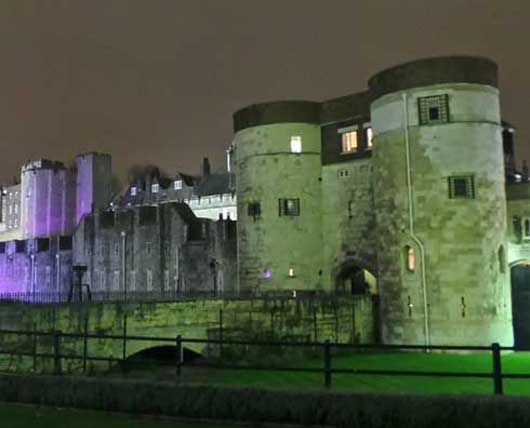 The Tower of London at night.