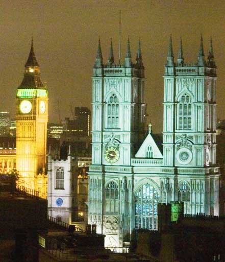 A view of Westminster Abbey by night.