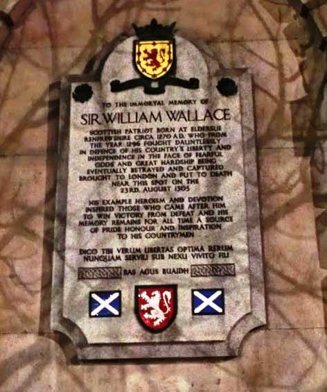 The William Wallace memorial plque in Smithfield.