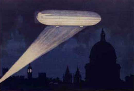 A Zeppelin airship over St Paul's Cathedral.