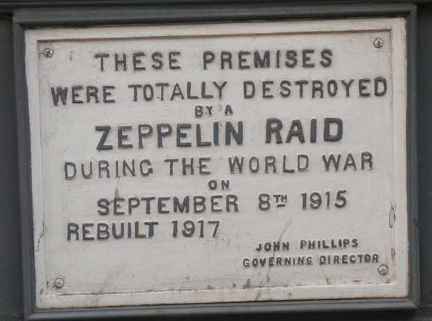 The plaque on a building destoryd by the Zeppelin bomb.