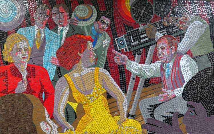 Mosaic of Alfred Hitchcock directing people