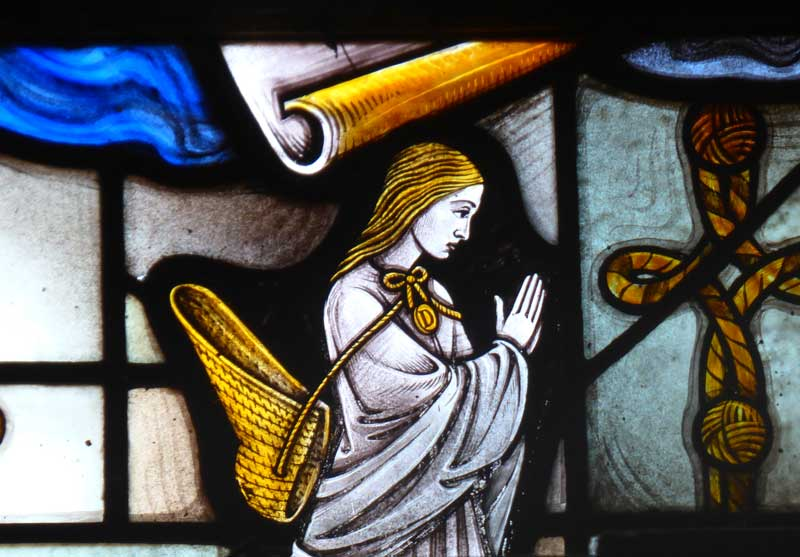 Little Dorrit in stained glass in one of the church windows.